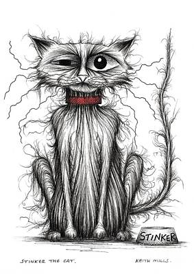Moggy Drawing - Stinker The Cat by Keith Mills