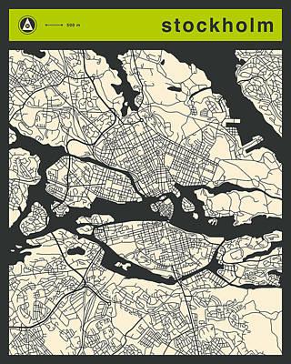 Stockholm Digital Art - Stockholm Street Map by Jazzberry Blue