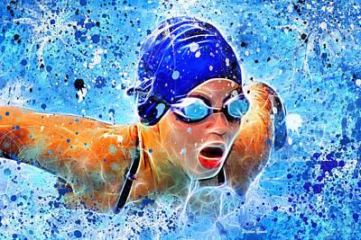 Kicking Digital Art - Swimmer by Stephen Younts