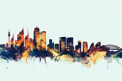 Sydney Australia Skyline Print by Michael Tompsett