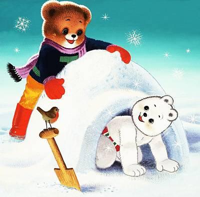 Igloo Painting - Teddy Bear Christmas Card by William Francis Phillipps