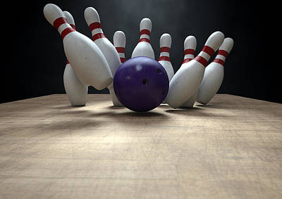Ten Pin Bowling Pins And Ball Print by Allan Swart