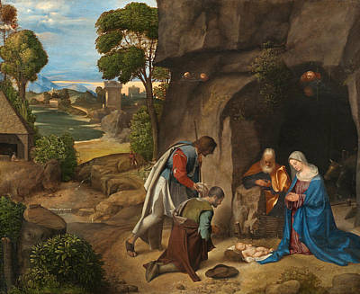 Religious Art Painting - The Adoration Of The Shepherds by Giorgione