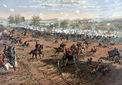 Civil Painting - The Battle Of Gettysburg  by War Is Hell Store
