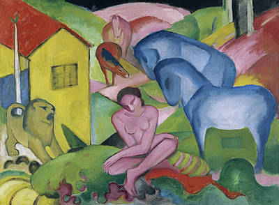 Animal Symbolism Painting - The Dream by Franz Marc