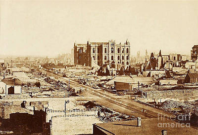 The Great Chicago Fire, 1871 Print by Science Source