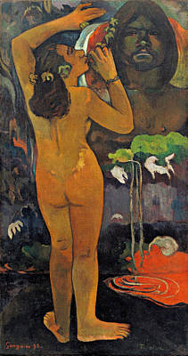 Nudity Painting - The Moon And The Earth by Paul Gauguin