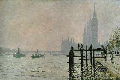 Ship Painting - The Thames Below Westminster by Claude Monet
