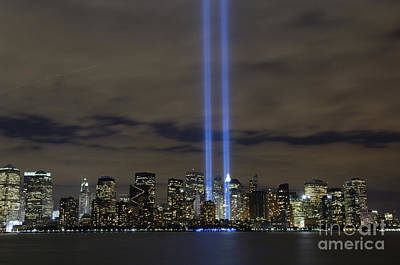Ground Photograph - The Tribute In Light Memorial by Stocktrek Images