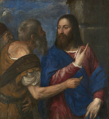 Biblical Scene Painting - The Tribute Money by Titian