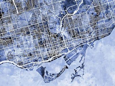 Canada Digital Art - Toronto Street Map by Michael Tompsett