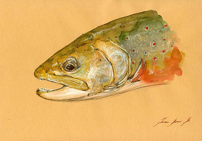 Trout Watercolor Painting Print by Juan  Bosco