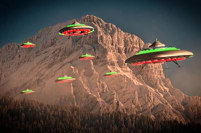 Ufo Invasion Force By Raphael Terra Print by Raphael Terra