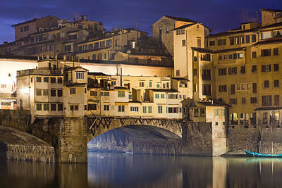 Vecchio Bridge At Night Print by Andre Goncalves