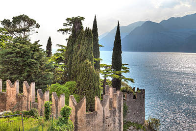 Photograph - view over the Lake Garda with the charming village Malcesine by Regina Koch