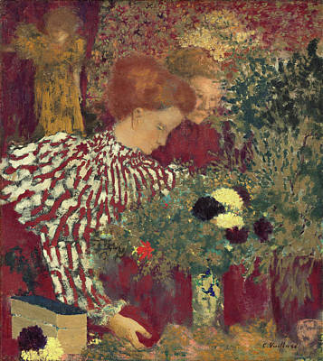 Floral Painting - Woman In A Striped Dress by Edouard Vuillard