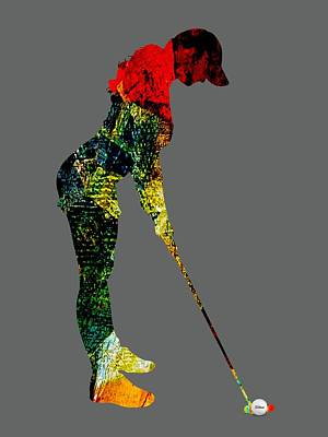 Womens Golf Collection Print by Marvin Blaine