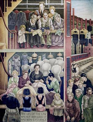 Mural Photograph - Wpa Mural. Society Freed Through by Everett