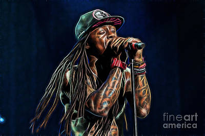 Rapper Mixed Media - Lil Wayne Collection by Marvin Blaine