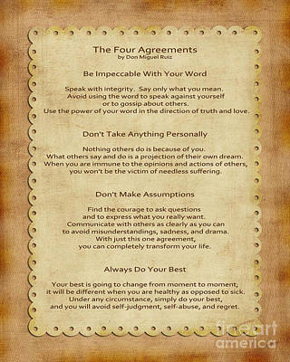 Wisdom Digital Art - 41- The Four Agreements by Joseph Keane