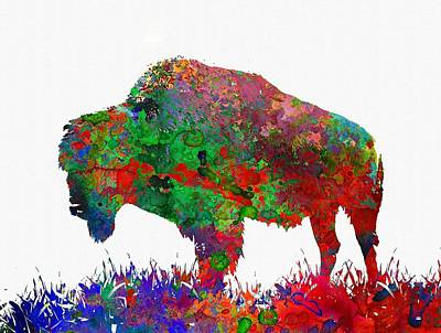 Bison Digital Art - Bison - Colorful Animal by Michael Vicin
