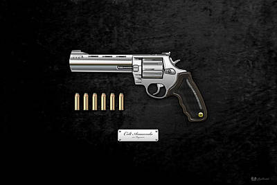 Cartridge Digital Art - .44 Magnum Colt Anaconda With Ammo On Black Velvet  by Serge Averbukh