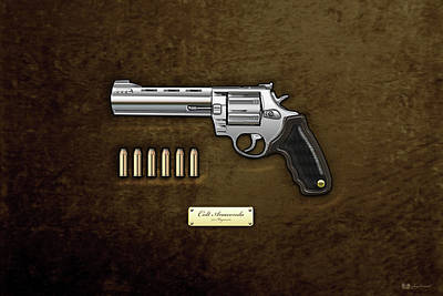 Cartridge Digital Art - .44 Magnum Colt Anaconda With Ammo On Brown Velvet  by Serge Averbukh