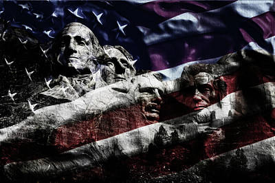 Independence Day Flag Mixed Media - 4th Of July Presidents by Ljubomir Arsic