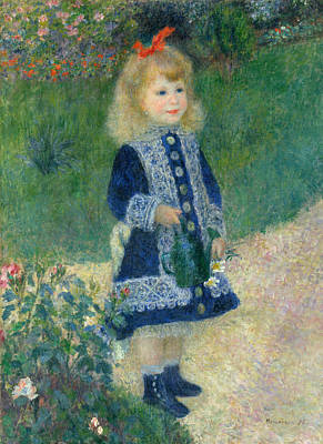 A Girl With A Watering Can Print by Auguste Renoir
