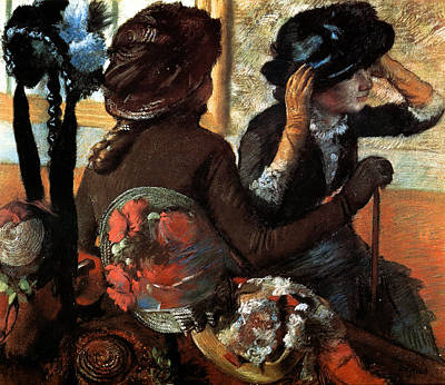 Working Painting - At The Milliner's by Edgar Degas