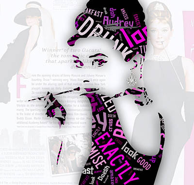 Audrey Hepburn Breakfast At Tiffany's Quotes Print by Marvin Blaine