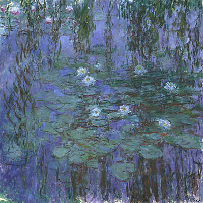 Weeping Painting - Blue Water Lilies by Claude Monet