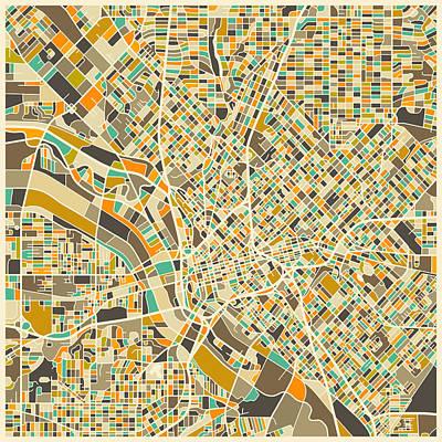 Colorful.modern Digital Art - Dallas Map by Jazzberry Blue