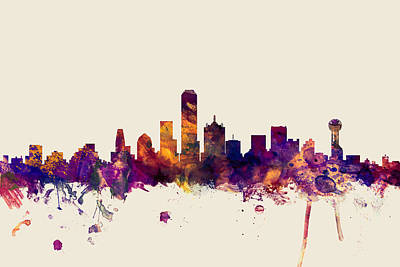 Silhouette Digital Art - Dallas Texas Skyline by Michael Tompsett