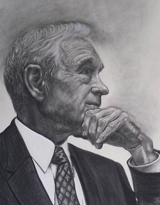 Mische Technique Painting - Dr. Ron Paul by Adrienne Martino