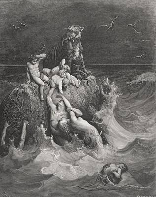 Noahs Ark Drawing - Engraving From The Dore Bible by Vintage Design Pics