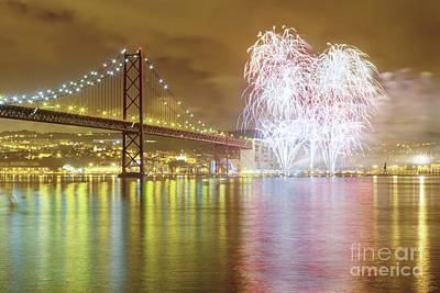 Fireworks At New Year's Eve In Lisbon Print by Andre Goncalves