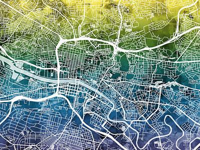 Glasgow Street Map Print by Michael Tompsett