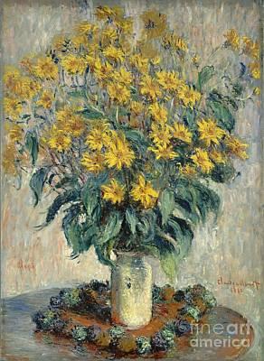 Artichoke Painting - Jerusalem Artichoke Flowers by Claude Monet