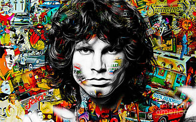 Rock And Roll Mixed Media - Jim Morrison Collection by Marvin Blaine