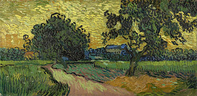 House Painting - Landscape At Twilight by Vincent van Gogh