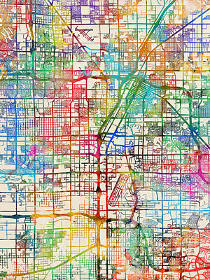 Nevada Digital Art - Las Vegas City Street Map by Michael Tompsett