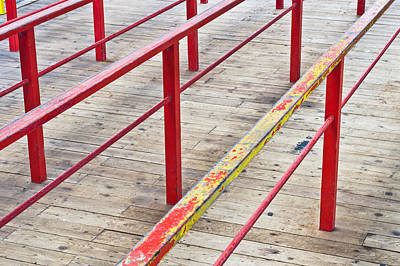 Wooden Platform Photograph - Metal Railings by Tom Gowanlock