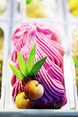 Mixed Colourful Gourmet Ice Cream Sweet Gelato In Shop Display Print by Jacek Malipan