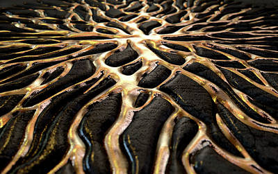 Natural Resources Digital Art - Molten Gold Seeping Out Of Rock by Allan Swart