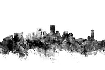 Louisiana Digital Art - New Orleans Louisiana Skyline by Michael Tompsett