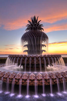 Pineapple Digital Art - Pineapple Fountain Charleston Sc Sunrise by Dustin K Ryan