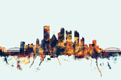 Pennsylvania Digital Art - Pittsburgh Pennsylvania Skyline by Michael Tompsett