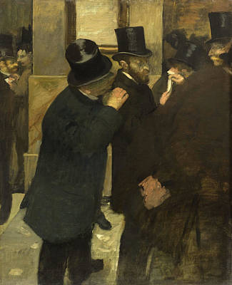 Edgar Degas Painting - Portraits At The Stock Exchange by Edgar Degas