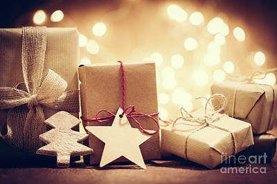 Surprise Photograph - Rustic Retro Gifts, Present Boxes On Glitter Background. Christmas Time by Michal Bednarek